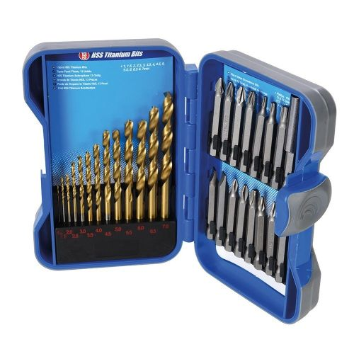 Silverline 633843 Titanium Coated HSS Drill Bit & CRV Driver Bit Set 29 Piece